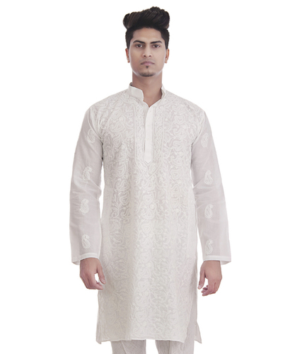 Full Jaal Work Hand Embroidered Mens Lucknowi Chikan Kurta