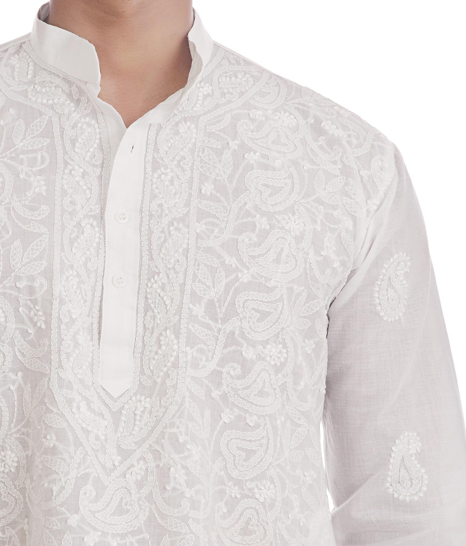 Ethnava White Front Full Jaal Work Hand Embroidered Mens Lucknowi Chikan Kurta