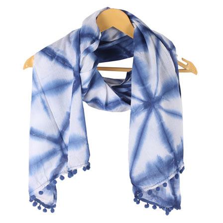 White Blue Shibori Cotton Sarong