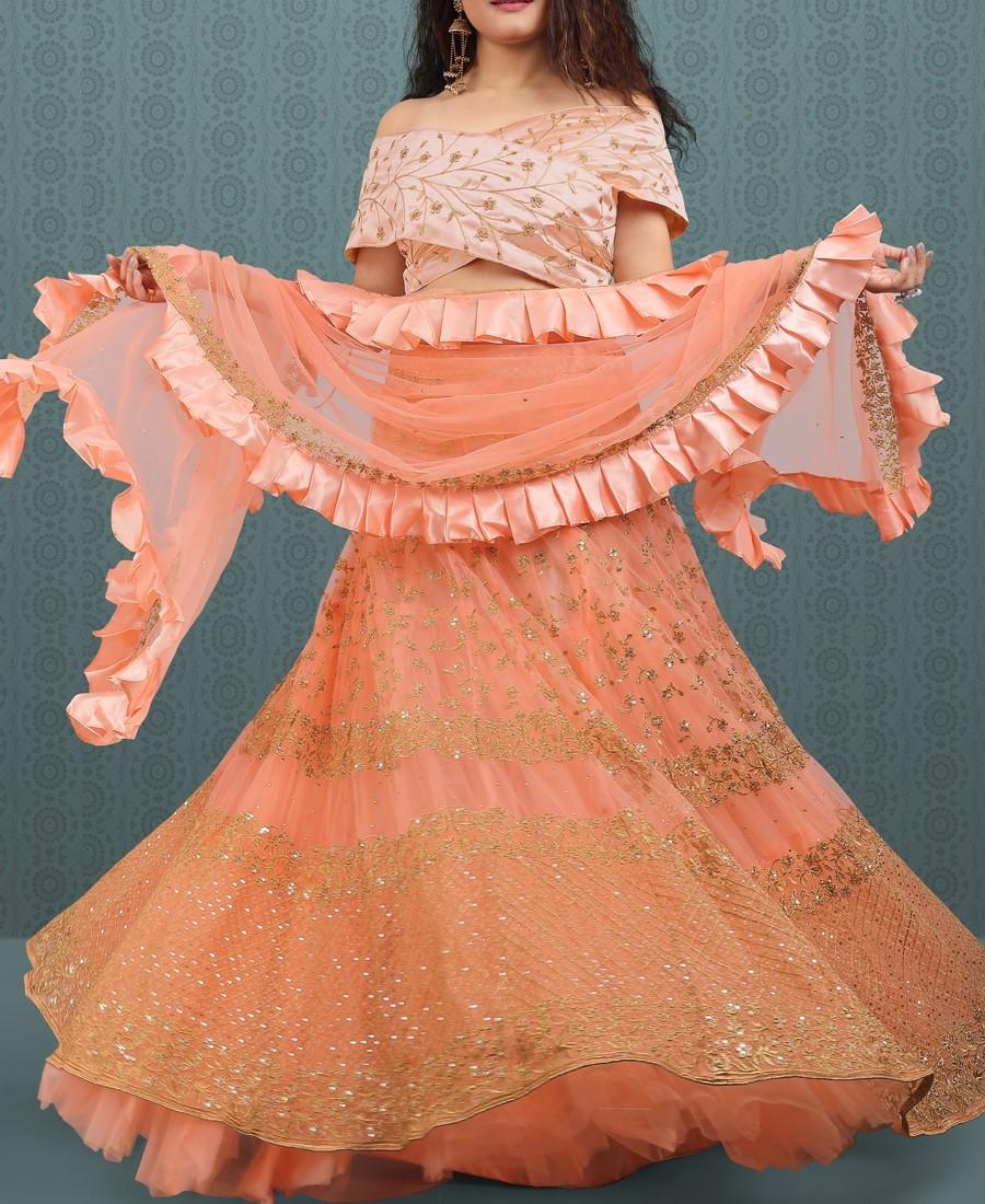 Classy Peach Net Sequence Embroidered Ruffle Lehenga