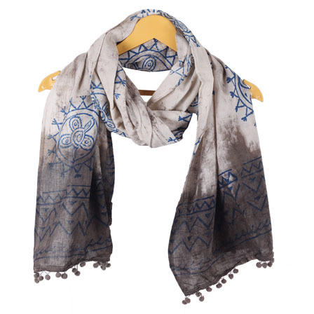 White Gray Batik Cotton Block Print Stole