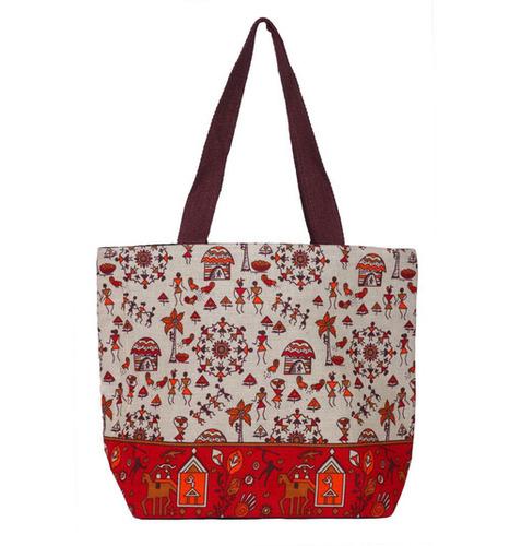 Red & White Ladies Jute Hand bag