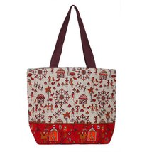 Red & White Ladies Jute Hand bag