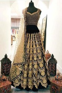 Velvet Designer Lehenga Choli Dress