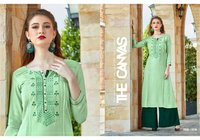 Flex Rayon Straight Long Kurties with Rayon Plazzo