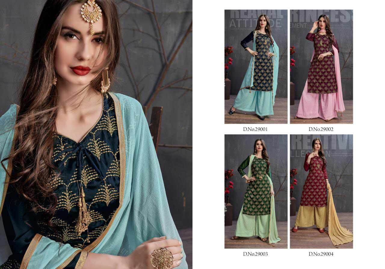 Heavy Georgette Satin Plazo Suit with Antique Badla Tar Work