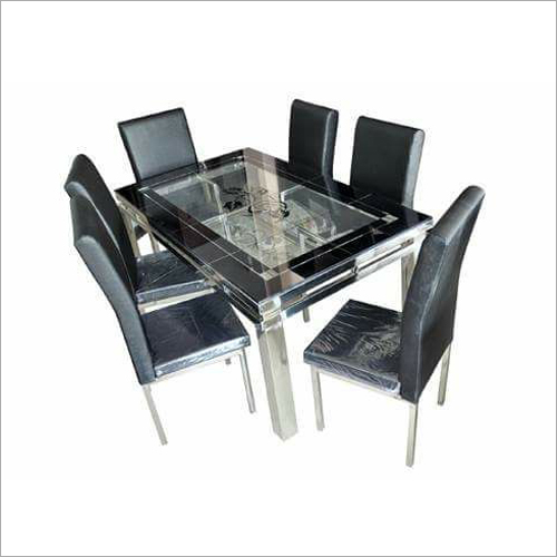 Steel Glass Dining Table Set
