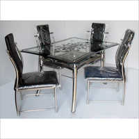 Steel Glass Four Seater Dining Table