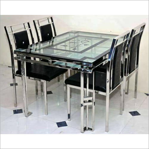 4 Seater SS Dining Table With Glass Top