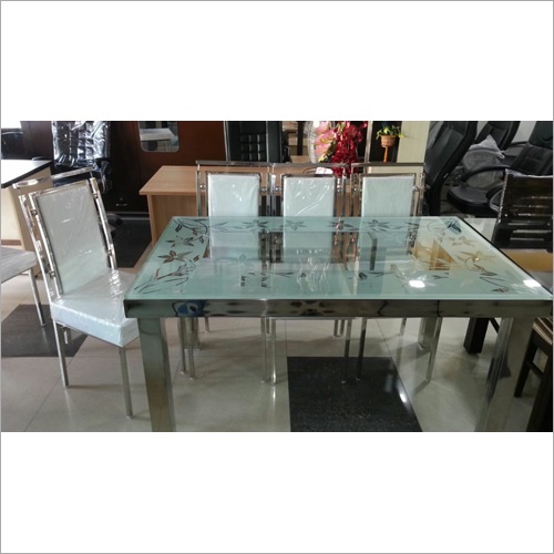 SS Glass Top Dining Table Set