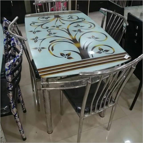SS Printed Glass Top Dining Table Set
