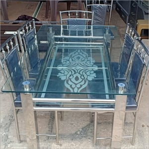 SS Dining Table Set With Glass Top