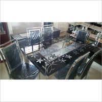 6 Seater SS Glass Top Dining Table Set