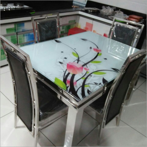 SS Printed Glass Top Table Dining Set