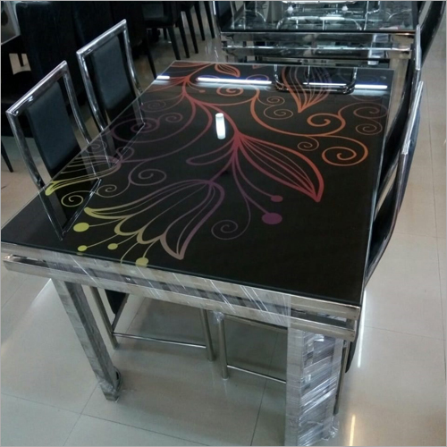 SS Fancy Glass Top Dining Table Set