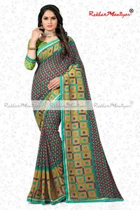 Faux Georgette Weightless Weaving Zari Bordered Saree