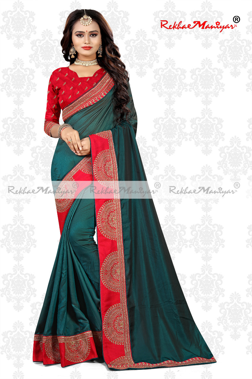 Art Silk Heavy lace Embroidery work Saree