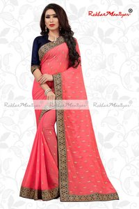 Saffron Silk Small Butti Work Contrast Blouse Saree