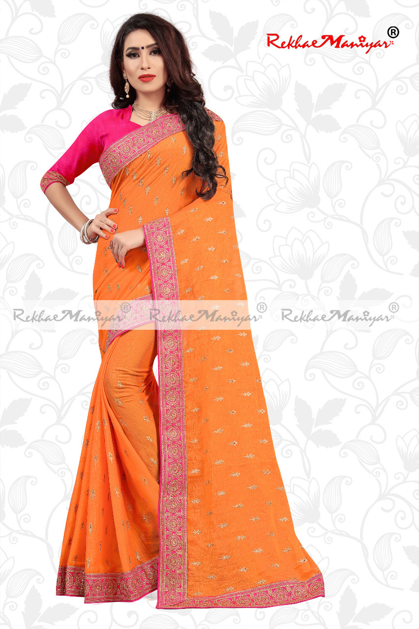 Saffron Silk Small Butti Work Contrast Blouse Saree