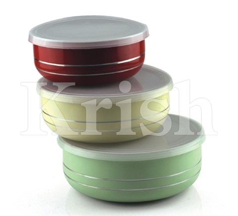 Coloured Round Lid Bowl