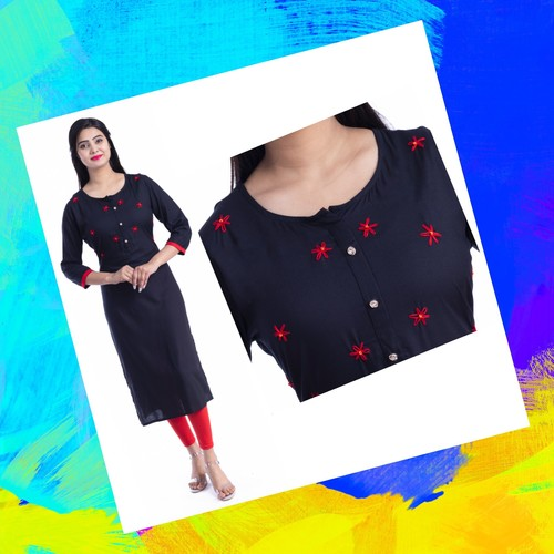 RGP FASHION GROUPS Beautiful Hend Work Heavy Rayon 3/4 Sleeve Knee Long Casual Kurtis for Woman Black (Size-M,L,XL,XXL)
