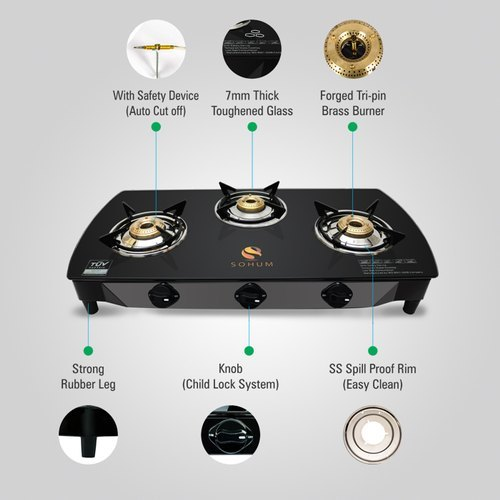 Three Burner Gas Stove With Safety Device
