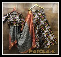 Pure Patola Weaving cotton silk fabric lehengha