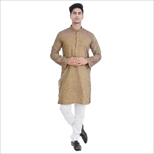 Khadi Cotton Lucknowi Mens Chikan Kurta