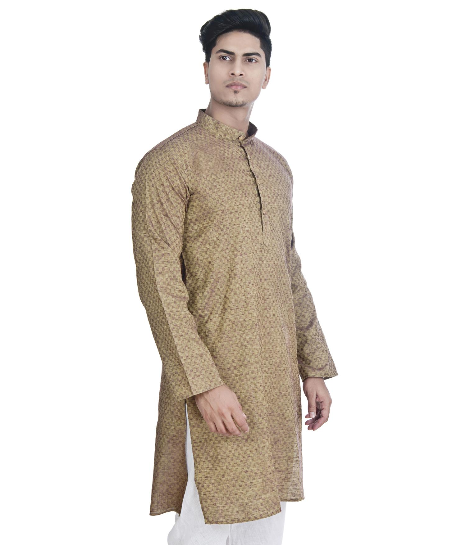 Khadi Cotton Lucknowi Mens Chikan Kurta