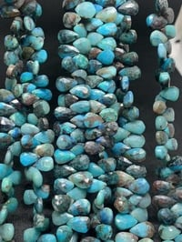 Natural Chrysocolla Pear Faceted Beads, 8 Inches Strand