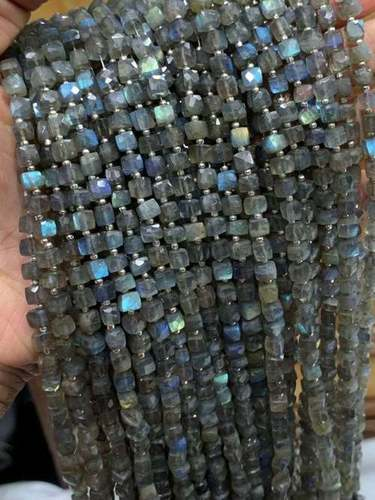 labradorite cube box faceted beads 5mm,