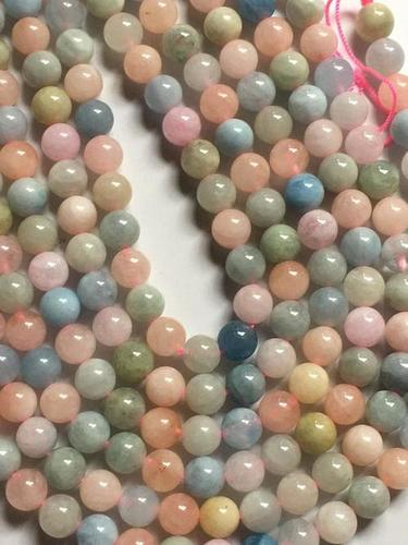 Fine quality Multi morganite 8mm round beads,15 inch strand