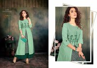 Screen Print Muslin Gown With Chanderi Modal And Exclusive Embroidery