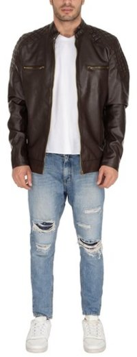 MAN PU JACKET BRN