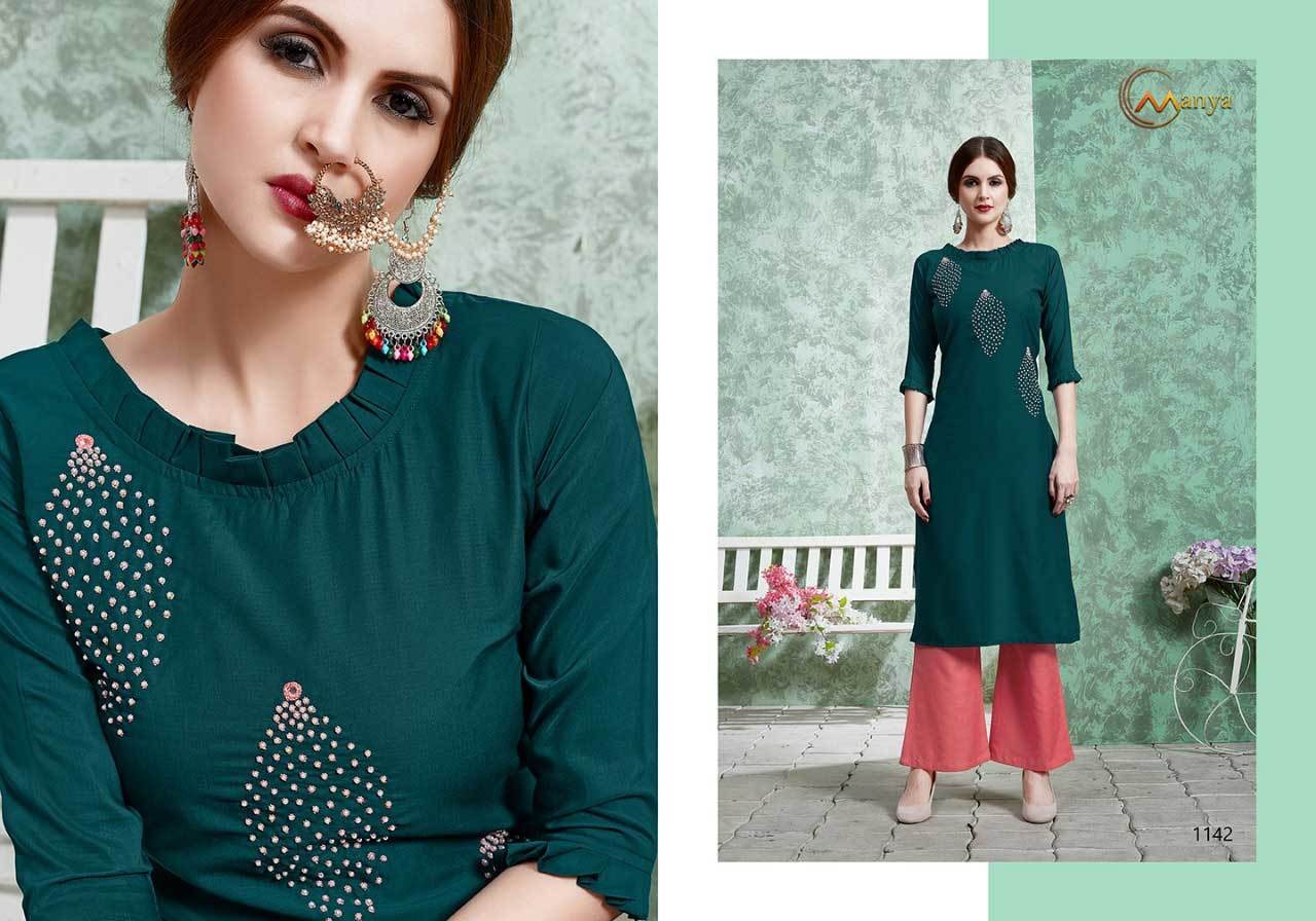 PURE MUSLIN STRAIGHT CUT KURTI WITH PLAZZO