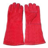 Leather Hand Glove Red 14 Inch