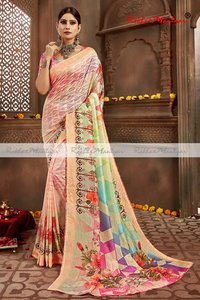 Art Silk Digital Print Swarovski Diamond work Saree
