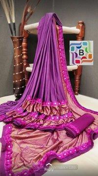 Fancy ruffele jarsi silk with Flog work saree