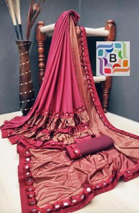 Fancy ruffele jarsi silk with Flog work saree