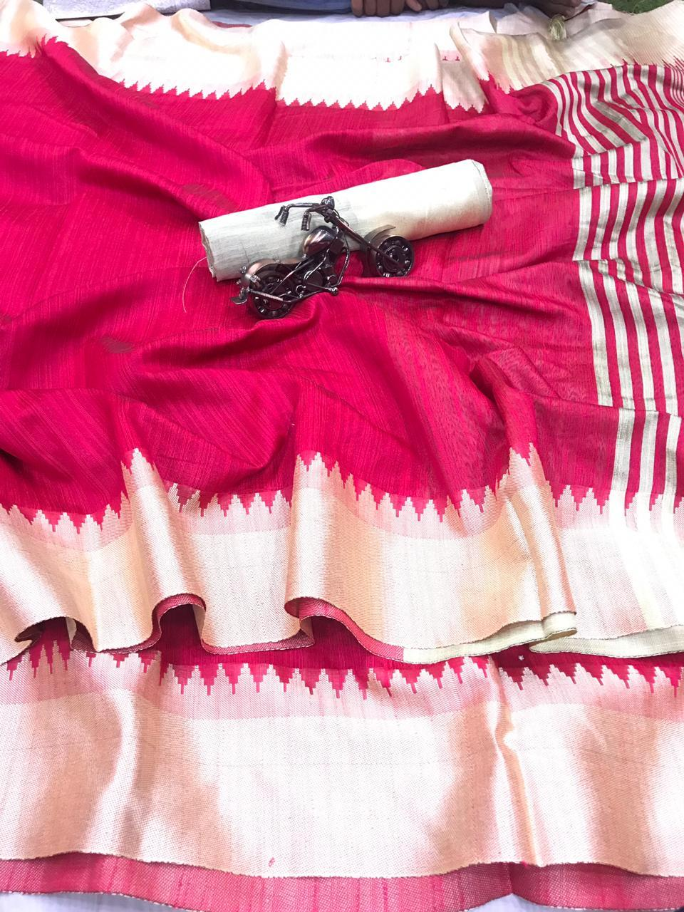 Raw Silk Saree  with weaving pallu