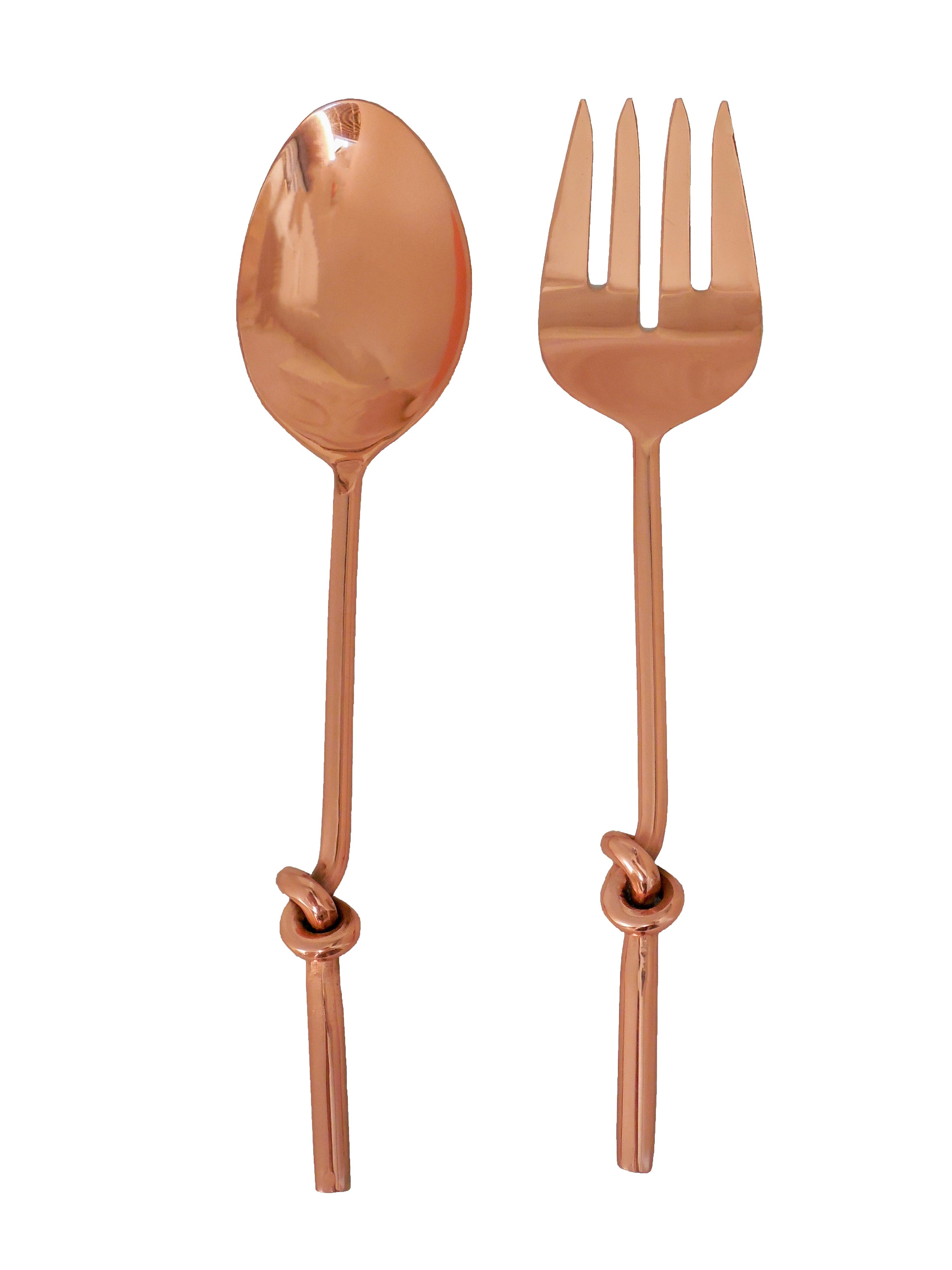 knot serving spoon 2 pcs set 1 pcs spoon and 1 pcs fork copper finish steel