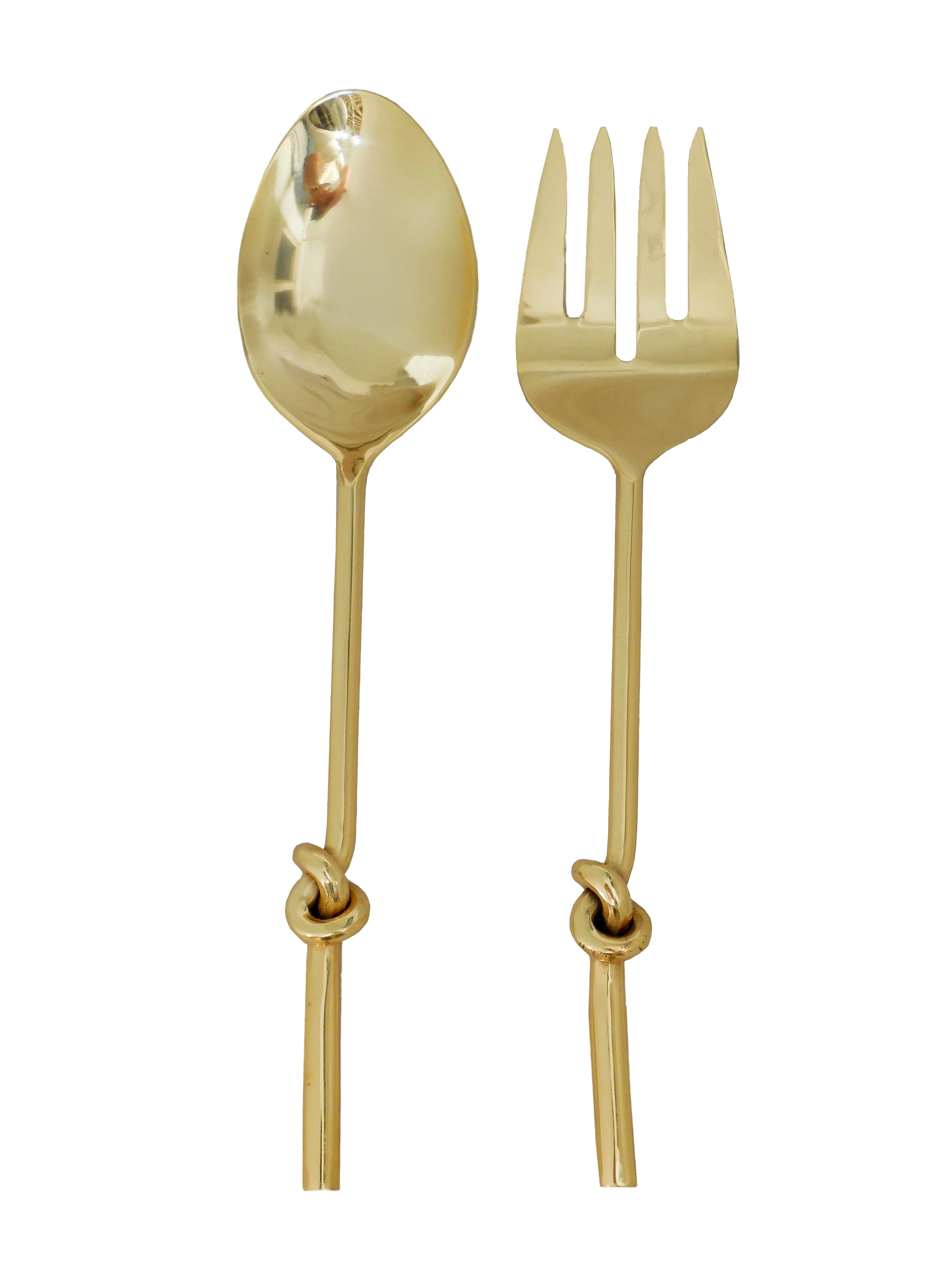 knot serving spoon 2 pcs set 1 pcs spoon and 1 pcs fork gold finish steel