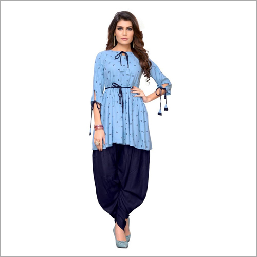 Fancy Printed Kurti And Dhoti Set