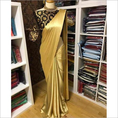 Gold Satin Designer Saree