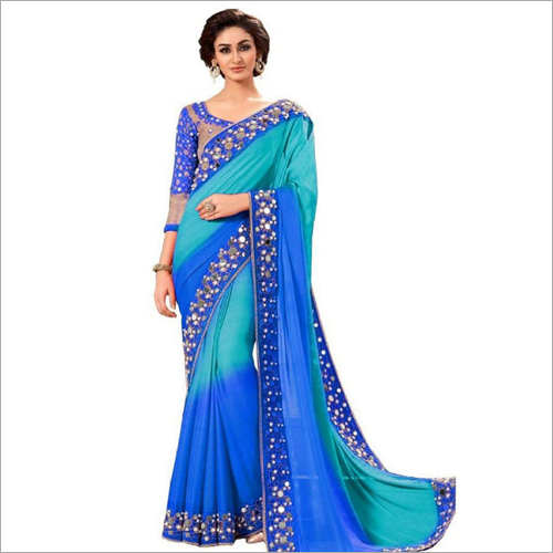 Mirror Embroidery Designer Saree