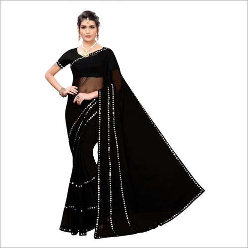 Fancy Glass Emboidery Designer Saree