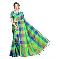 Ikkat Check Cotton Silk Saree With Jhalar