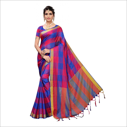 Checks Pattern Cotton Silk Saree With Jhalar