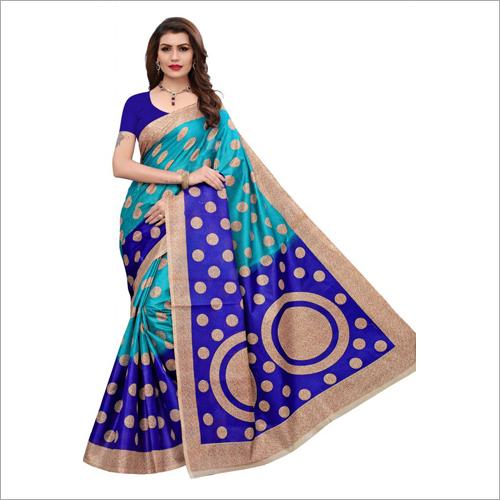 Womens Art Silk Kalamkari And Bhagalpuri Style Saree With Blouse Piece