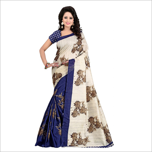 Flower Printed Bhagalpuri Silk Saree